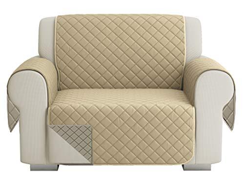 Fundas para Sofa Acolchado, Funda De Sofas 1 Plaza / Relax, Cubre Sofa Reversible Bicolor, Taupe / Beige