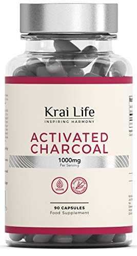 Krai Life Pure Activated Charcoal Tablets [333mg], High Strength, 90 Vegan Carbon Capsules | Supplement for Stomach Bloating & Gas Relief