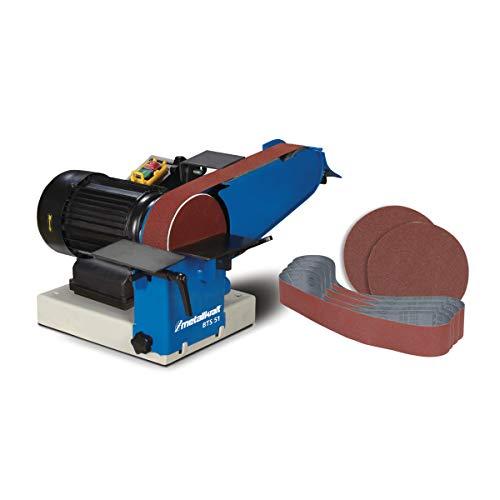 Metallkraft Band- und Tellerschleifer BTS 51 (mit Absaugstutzen, mit Schleifbänder, Motor 0,75 kW, 2 Schleiftische), 3700051