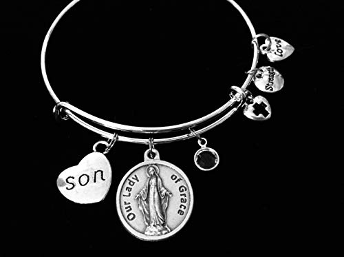 Our Lady of Grace Virgin Mary Miraculous Mary Adjustable Bracelet Expandable Charm Bracelet Prayer Catholic Gift Personalization Son, Daughter, Mom, Dad, Grandma, Grandpa, Brother, Sister, Aunt