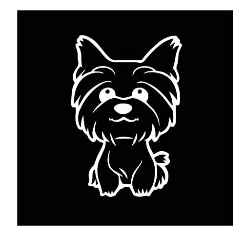 MDGCYDR Pegatinas Personalizadas Coche 10,8X16 Cm Yorkie Yorkshire Terrier Perrito Calcomanía Lindo Divertido Perro Ventana Vinilo Coche Pegatina Negro/Plata