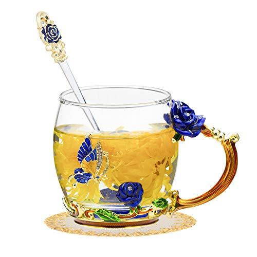 Enamel Glass Tea CupFlower Clear LeadFree Coffee MugsElaborate Handle and Beautiful Spoon Tea Cup for Women Birthday Valentines Wedding Day Gifts Blue