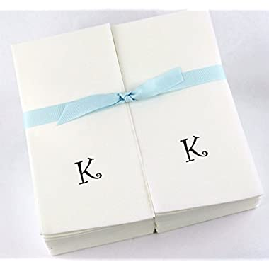 Disposable Nature's Linen Guest Hand Towels with a Ribbon - Personalized with a Black Single Curlz Initial - K - 100ct.