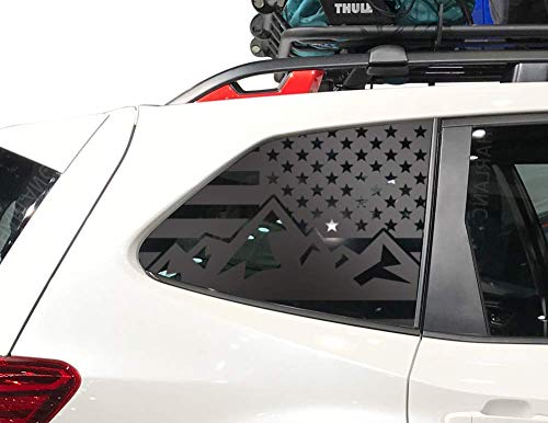Mountain USA American Flag Decals for Subaru Forester in Matte Black for side windows - fits 2019-2020 - QB17A
