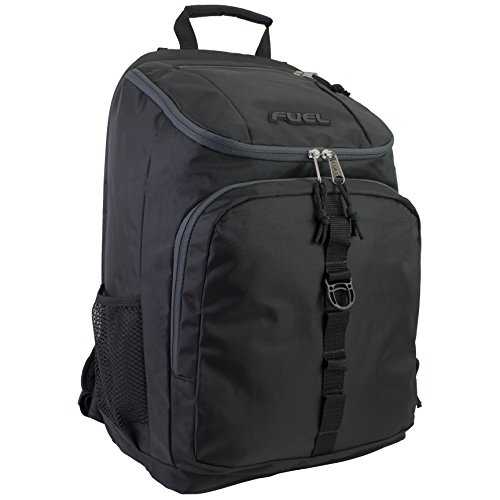 Fuel Top Load Sport Backpack with Side Tech Compartment and Ergonomic Padded Mesh Breathable Back (One_Size, Black)