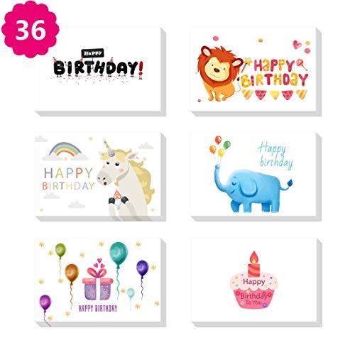 Morkka Verjaardagskaart 36 Pack Verjaardagskaarten Set 6 Unieke Dierontwerpen Gelukkige Verjaardagskaarten Bulk Enveloppen & Stickers Inbegrepen 4 x 6 Inch