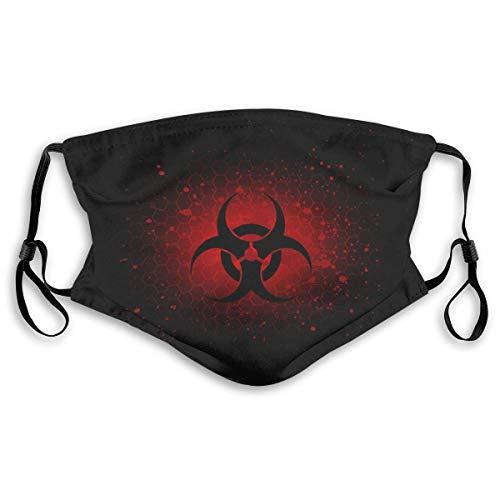Abstraktes Biohazard-Symbol Dunkelroter Mundschutz Wiederverwendbarer Mundschutz