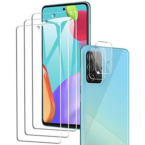 A-VIDET Kompatibel mit Samsung Galaxy A52 5G/4G Panzerglas(3 Stück)+ Kamera Panzerglas(2 Stück),HD Klar Kameraschutz Folie Gehärtetem Glas Displayschutzfolie