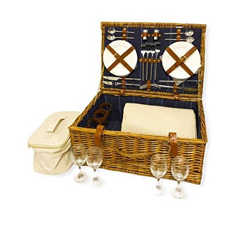 Fine Gifts UK Juego de cesta de picnic con forro de mimbre para 4 personas, con bolsa enfriadora y manta, color azul