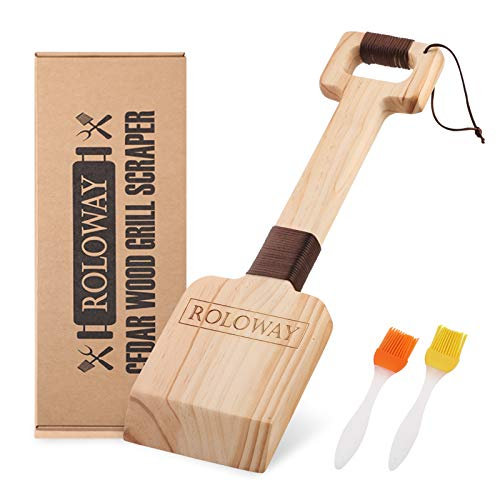 ROLOWAY Cedar Wood Grill Scraper, Wooden Grill Cleaner Scraper, Grill Brush Wood BBQ Scraper, Natural/Safe/Bristle-Free Wooden Barbecue Grill Grate Cleaner with Gift Box & 2 Basting Brushes