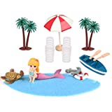 ATPWONZ 13 Pcs Strand-Mikrolandschaft,Miniatur Dekoration, Mini-Stranddekorationen für...