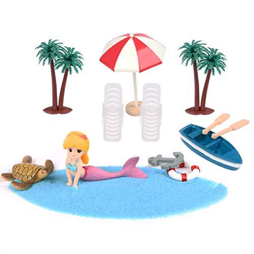 ATPWONZ 13 Pcs Strand-Mikrolandschaft,Miniatur Dekoration, Mini-Stranddekorationen für Geburtstagsgeschenk, Sonnenschirmen, Miniliegestuhl, Booten usw.