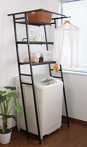 立て掛けランドリーラック伸縮式幅60~80×奥行64×高さ182cmブラウン簡単設置立掛け壁面おしゃれ一人暮らし新生活人気おすすめ女性