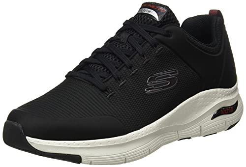 Skechers Arch Fit-Titan, Zapatillas para Caminar Hombre, Negro (BKW Black Textile/White Trim), 43 EU