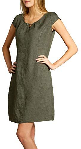 Caspar SKL020 knielanges Damen Sommer Leinenkleid mit eleganter Metallspange bis Größe 50, Farbe:Oliv grün, Größe:M - DE38 UK10 IT42 ES40 US8