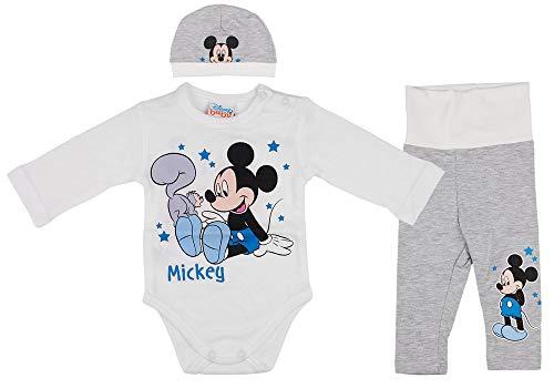Disney Baby Mickey Mouse Jungen 3teiler Set mit Ohren-Mütze, unterschiedliche Modelle, in Größe 56 62 68 74 80 86, Baumwolle, Body, Hose und Mütze Farbe Modell 1, Größe 68