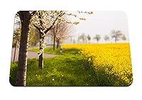 22cmx18cm マウスパッド (木春開花フィールド黄色の花びら) パターンカスタムの マウスパッド