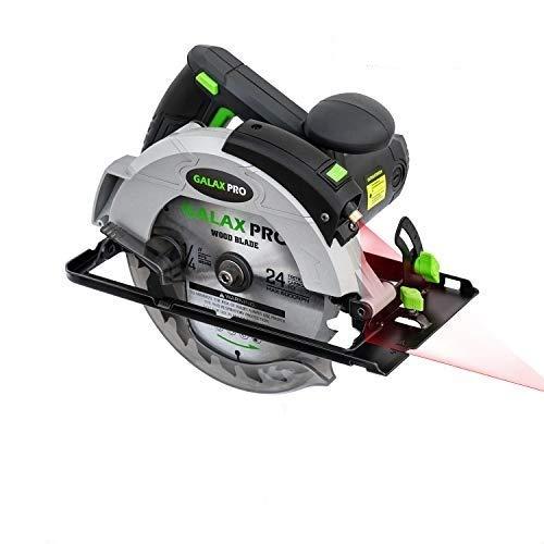 GALAX PRO Scie Circulaire, 1400W 5500RPM, Guide Laser, Max Coupe 62 mm (90 °), 46mm (45 °), Lame 185mm, Guide Parallèle, Scie Électrique pour Bois, Plastique et Métal Mince/76321L
