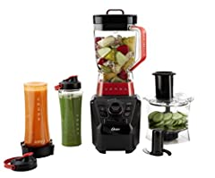 Powerful: 1100 watt motor for blending perfect smoothies 64-ounce BPA-Free Tritan(r) Jar, 5-cup food processor with slicing/shredding disk and a chopping blade, Two 20-oz blend'n go cups Control: Combination of manual settings for precise control as ...