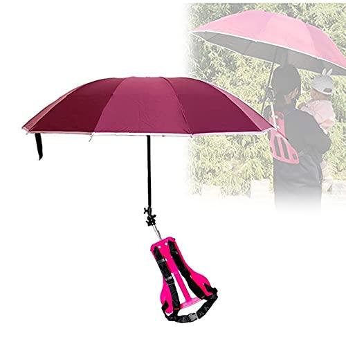 Tragbarer Regenschirm, Verstellbarer Regenhut, Sonne Und Regen, Freisprechen, Angeln Im Freien, Gartenfotografie, Camping-Strandparty Für Erwachsene Kinder,Rosa