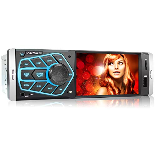 XOMAX XM-V418 Radio de Coche con Pantalla de 4.1' / 10 cm I Bluetooth | USB, SD, AUX | RDS | Conexiones para cámara de Marcha atrás y Mando a Distancia del Volante I 7 Colores de iluminación | 1 DIN