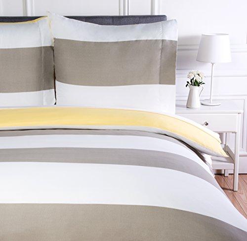 AmazonBasics - Bettwäsche-Set, Mikrofaser, 135 x 200 cm, Leicht Mikrofaser, Wendbar, Grau, gestreift
