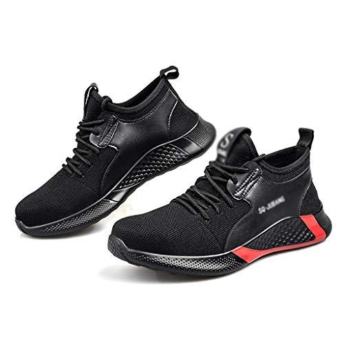 ZYFXZ Mens Stahl Zehe-Sicherheits-Schuhe, Sommerflug Weave Leichte Arbeitsschuhe, Breathable Puncture Proof-Trainer Bottes de sécurité (Color : Black, Size : 45)