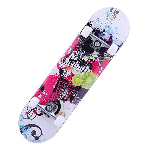 AXJX Skateboard Street Junior Unisex Skateboard per Bambini 7 velocità Un po 'più Stabile di precisione in Acciaio Inox ad Alta velocità ABEC-7