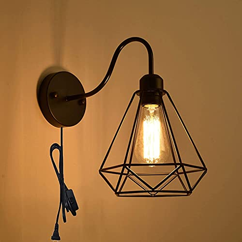 QEGY Luz de pared interior de la vendimia con interruptor, lámpara de pared de la lámpara de pared de dormitorio industrial retro, E27 Rustic Living Room Wall Sconce Light Black 1.8m Cable, accesorios