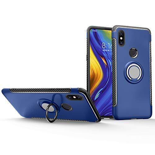 Botongda Xiaomi Mi Mix 3 5G Hülle,Kratzfest/stoßfest Harte PC+Silikon TPU Schutzhülle mit um 360 Grad drehbarem Metall Ring Stand [Magnetische Autohalterung unterstützen] für Xiaomi Mi Mix 3 5G-Blau