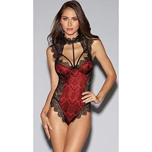 Gdofkh Lencería Sexy de una Sola Pieza para Mujeres Europeas y Americanas Pijamas de tentación con Perspectiva Halter de Encaje de Gran tamaño