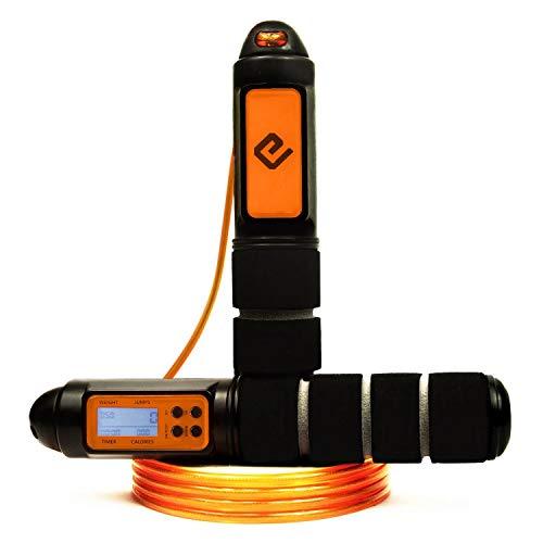 Eqofit® |Einführungsangebot| Springseil Speed Rope mit Zähler [Sprünge, Kalorienverbrauch u.v.m.] für Ausdauersport Crossfit Homeworkout Intervalltraining HIIT für Jung bis Alt
