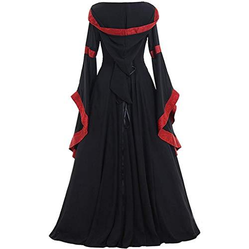 Auifor La Vendimia del Estilo de Las Mujeres del Color sólido de la Manga Acampanada Princesa Dress Celta Medieval Suelo Longitud del Renacimiento gótico de Cosplay del Vestido