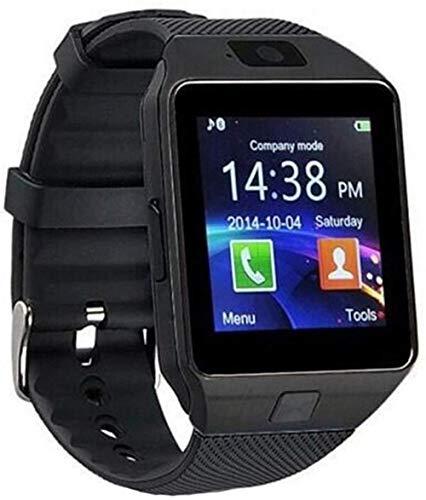 Reloj inteligente digital para hombre, para Apple iPhone, Samsung y Android, Bluetooth, tarjeta SIM TF, correa de cámara (color: dorado)