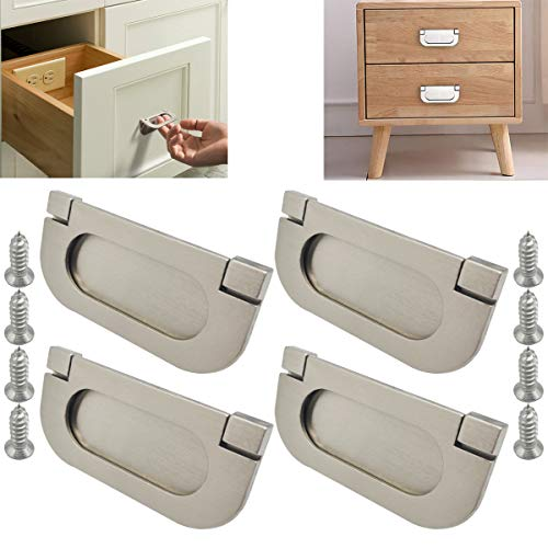CTRICALVER 4PCS Flush Ring Pull Zinc Alloy Cabinet Drawer Pull Handle| Stainless Steel Pull Handle Invisible Door Knob 75mm|for Cupboard Drawer Cabinet Wardrobe Accessories-with Screws (silver)