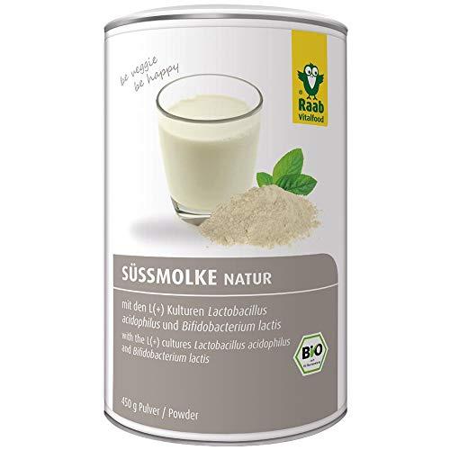 Raab Vitalfood Bio Süßmolke natur, Wellness-Drink, Süssmolke, Molkepulver, Molke-Drink, fettarm, proteinreich, mit rechtsdrehenden L (+) Milchsäurebakterien, 1er Pack (1 x 450 g Dose)