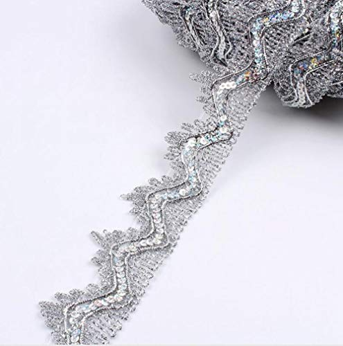 35mm 5yards zigzag gouden pailletten kanten lint voor kledingstukken rand inwikkeling bruiloft feestjurk cosplay kleding naaien kanten versieringen, zilver