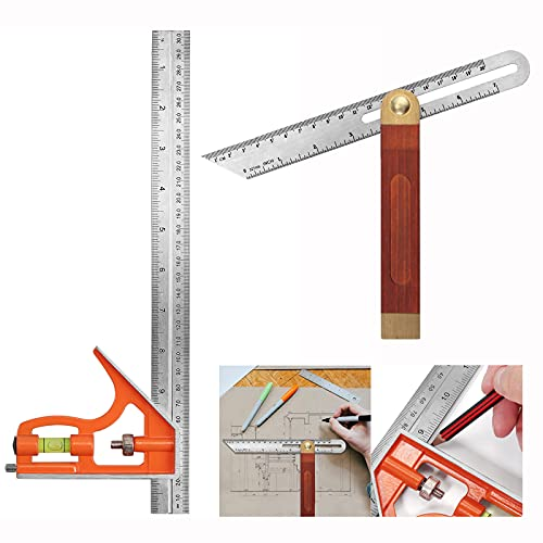 CAMWAY Carpentry Squares with 12 inch 300mm Combination Square and 9 inch Sliding Bevel Gauge, Metric Imperial Combination Ruler,Adjustable Bevel Gauge for Woodworking DIY Furniture