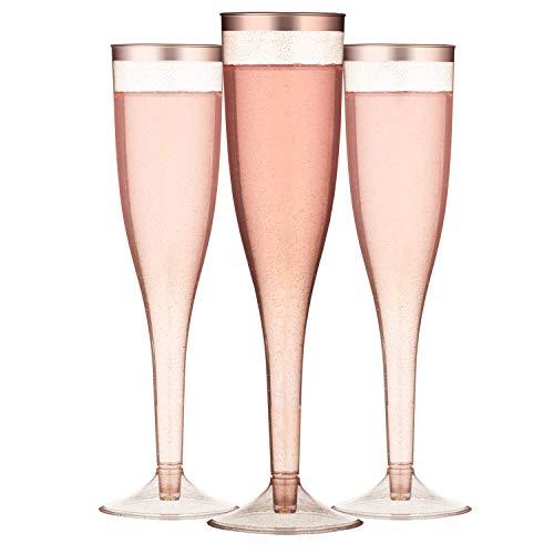 TOROTON 30 Flute di Champagne in Plastica Trasparente, 162ml Riutilizzabile e Riciclabile Bicchieri di Vino, per Catering, Feste, Matrimonio - Oro Rosa