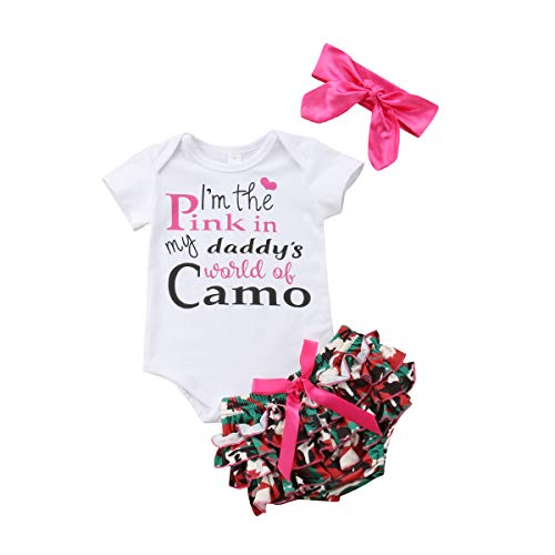 Newborn Baby Girls Clothes I'm The Pink in My Daddy's World of Camo Rompers+Ruffel Pants Shorts+Headband 3PCS Outfits Set (0-6 Months, White)