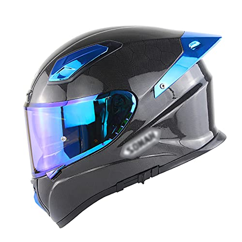 NINOMI Casco Integral para Motocicleta, Doble Visera Fibra De Carbono Casco De ProteccióN para Motocicleta Scooter para Adultos Casco Deportivo De Turismo para Hombres Mujeres EstáNdar Ece/Dot