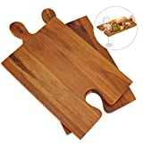 wine and cheese holder - AIDEA Wood Cutting Board Cheese Board with Handle Set of 2 - Wood Charcuterie Platter Serving Tray for Cheese, Crackers, Meat And Wine- Great for Birthday, Housewarming & Wedding Gifts