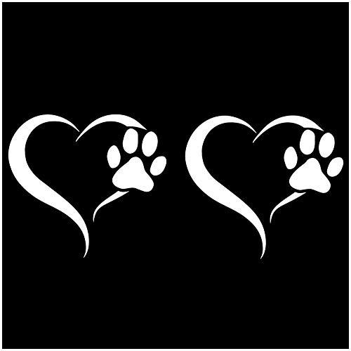 Finest Folia 2er Set Aufkleber Pfote und Herz 10x11cm Hund Katze Sticker für Auto Motorrad Wand Laptop Möbel Pfotensticker Hundepfote selbstklebend (K017 Weiß)