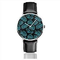 レザーウォッチ 腕時計 メンズ クオーツムーブメント 熱帯植物 葉柄 ベルトは高級PUレザー レディース 誕生日プレゼント 超薄型ウオッチ Leather Watch 男女兼用 人気