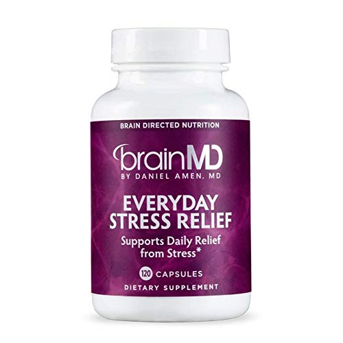 Dr. Amen brainMD Everyday Stress Relief - 120 Capsules - Mood & Adrenal Support Supplement, Promotes Calm, Relaxation & Focus, Non-Drowsy - Gluten-Free - 30 Servings