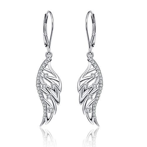 Bonlavie - Pendientes de plata de ley con alas de ángel para mujer, hipoalergénicos y circonitas cúbicas