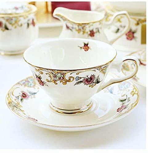 Taza de café de porcelana de hueso platillo de cuchara taza de té de la tarde inglesa vajilla de café taza y platillo de porcelana de 170 ml para café-A
