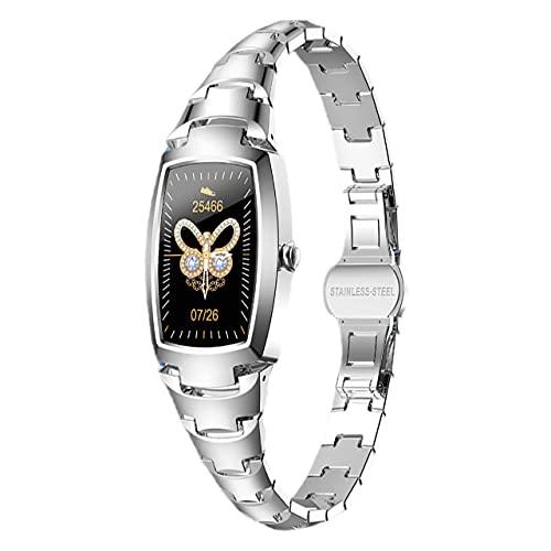 Smartwatch da donna, con cinturino intelligente, con tracciatore, pressione Sanguine, cardiofrequenzimetro, pedometro, ossigeno, IP67, iPhone, iOS, Android, notifiche chiamate, SMS (grigio argento)