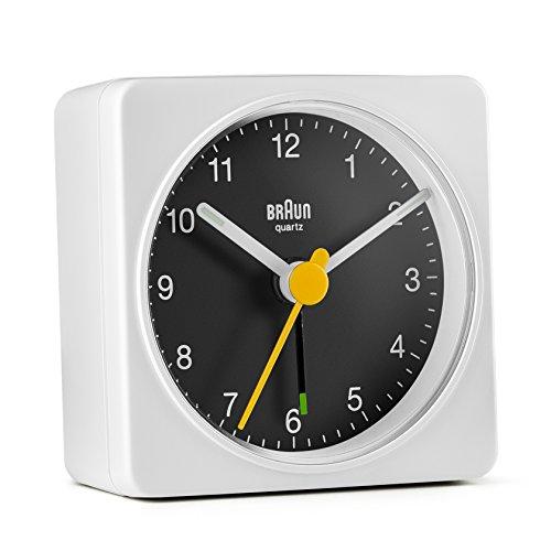 Braun Classic Travel Analogue Alarm Clock, Compact Size, Quiet Quartz Movement, Crescendo Beep Alarm in White and Black, Model BC02WB.