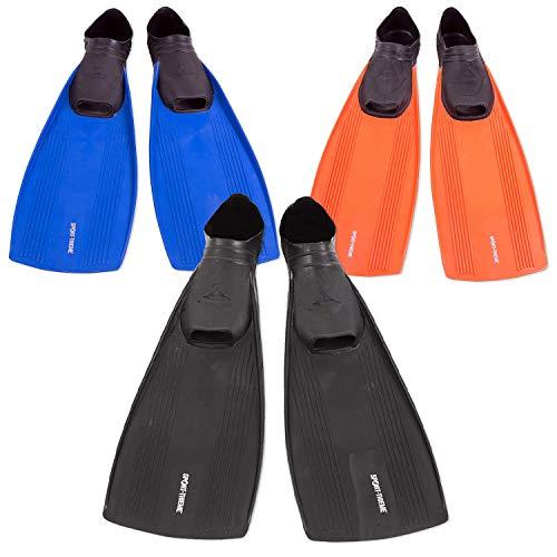 Sport-Thieme Schwimmflossen für Kinder u. Erwachsene aus UV-beständigem Thermo Soft-Gummi | 9 Größen: 28-46, DREI Farben: Schwarz, Blau, Orange | L: 37-61 cm | Markenqualität